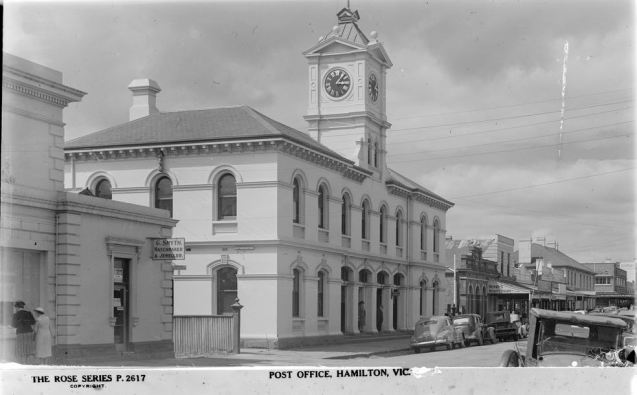 HAMILTON POST OFFICE. Image Courtesy of the State Library of Victoria. Image no. H32492/3788 http://handle.slv.vic.gov.au/10381/61503