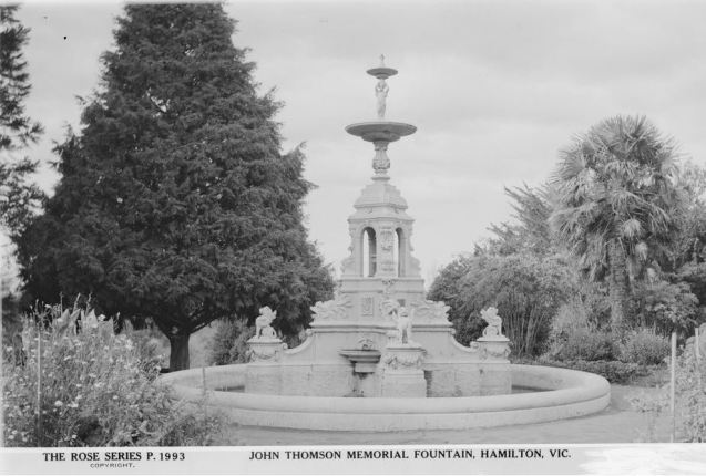 JOHN THOMSON MEMORIAL FOUNTAIN, HAMILTON BOTANICAL GARDENS.  Image Courtesy of the State Library of Victoria.  Image no.  H32492/2808 http://handle.slv.vic.gov.au/10381/63460