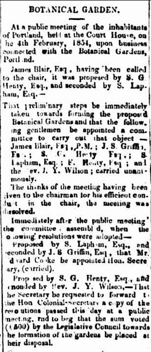 BOTANICAL GARDEN. (1854, February 9). Portland Guardian and Normanby General Advertiser (Vic. : 1842 - 1876), p. 2 Edition: EVENING. Retrieved June 30, 2013, from http://nla.gov.au/nla.news-article71569639