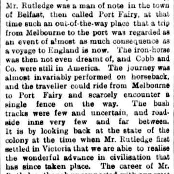 DEATH OF MR. WILLIAM RUTLEDGE, OF FARNHAM. (1876, June 2). The Argus (Melbourne, Vic. : 1848 - 1957), p. 5. Retrieved June 25, 2013, from http://nla.gov.au/nla.news-article5890095