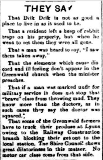 THEY SAY. (1917, January 11). Portland Observer and Normanby Advertiser (Vic. : 1914 - 1918), p. 3 Edition: MORNING. Retrieved June 29, 2013, from http://nla.gov.au/nla.news-article88675585