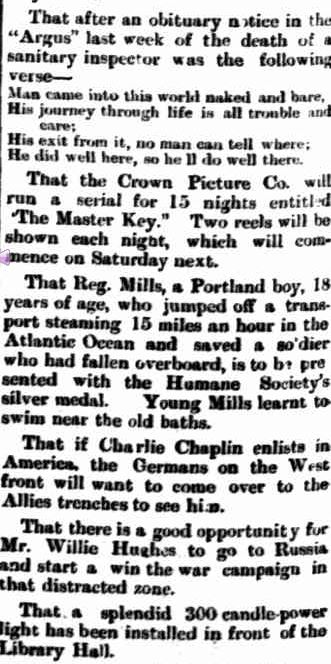 THEY SAY. (1917, June 25). Portland Observer and Normanby Advertiser (Vic. : 1914 - 1918), p. 2 Edition: MORNING. Retrieved June 29, 2013, from http://nla.gov.au/nla.news-article88675182