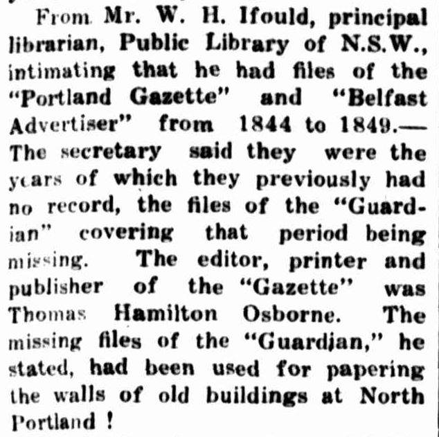 Historical Committee. (1932, March 17). Portland Guardian (Vic. : 1876 - 1953), p. 3 Edition: EVENING. Retrieved July 13, 2013, from http://nla.gov.au/nla.news-article64297702