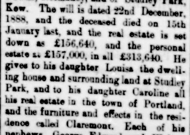 The Will of the late Mr. Franis Henty. (1889, March 8). Portland Guardian (Vic. : 1876 - 1953), p. 2 Edition: EVENING. Retrieved July 18, 2013, from http://nla.gov.au/nla.news-article63592299
