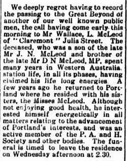 Portland Guardian. (1919, July 28). Portland Guardian (Vic. : 1876 - 1953), p. 2 Edition: EVENING. Retrieved July 18, 2013, from http://nla.gov.au/nla.news-article63959256