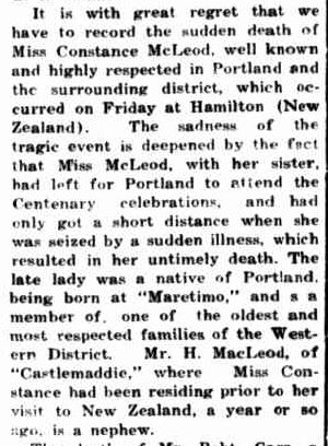Obituary. (1934, October 8). Portland Guardian (Vic. : 1876 - 1953), p. 2 Edition: EVENING. Retrieved July 18, 2013, from http://nla.gov.au/nla.news-article64286992