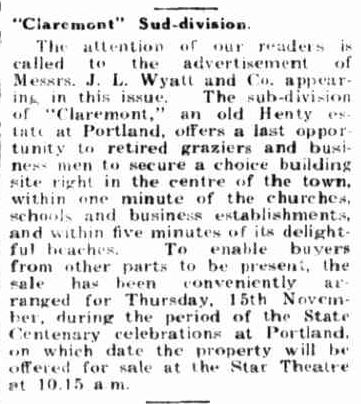 """Claremont"" Sud-division. (1934, October 15). Portland Guardian (Vic. : 1876 - 1953), p. 2 Edition: EVENING.. Retrieved July 19, 2013, from http://nla.gov.au/nla.news-article64287062"