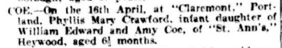 Family Notices. (1904, April 20). The Argus (Melbourne, Vic. : 1848 - 1957), p. 1. Retrieved August 2, 2013, from http://nla.gov.au/nla.news-article10315347