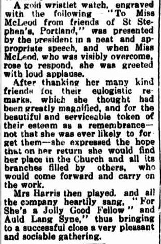 Presentation to Miss McLeod. (1920, June 21). Portland Guardian (Vic. : 1876 - 1953), p. 3 Edition: EVENING.. Retrieved July 18, 2013, from http://nla.gov.au/nla.news-article64021677