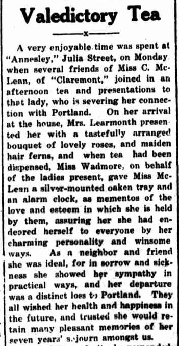 Valedictory Tea. (1927, May 5). Portland Guardian (Vic. : 1876 - 1953), p. 3 Edition: EVENING. Retrieved July 18, 2013, from http://nla.gov.au/nla.news-article64256993