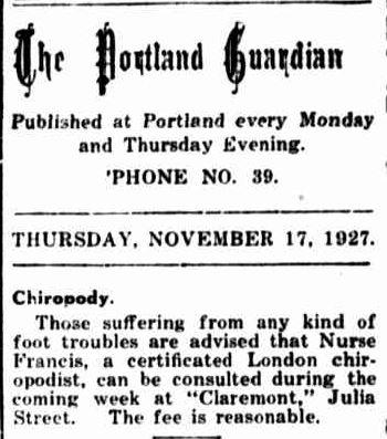 The Portland Guardian. (1927, November 17). Portland Guardian (Vic. : 1876 - 1953), p. 2 Edition: EVENING. Retrieved July 18, 2013, from http://nla.gov.au/nla.news-article64259180
