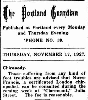 The Portland Guardian. (1927, November 17). Portland Guardian (Vic. : 1876 - 1953), p. 2 Edition: EVENING. Retrieved July 18, 2013, from http://nla.gov.au/nla.news-article64259180