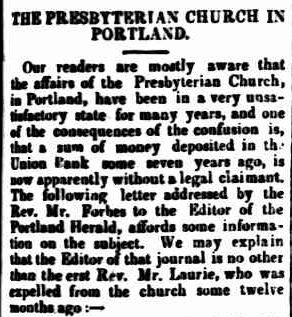 THE PRESBYTERIAN CHURCH IN PORTLAND. (1850, April 16). Geelong Advertiser (Vic. : 1847 - 1851), p. 3 Edition: MORNING. Retrieved July 29, 2013, from http://nla.gov.au/nla.news-article93135253