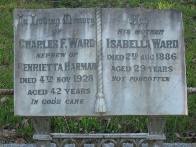 HEADSTONE OF CHARLES WARD AND HIS MOTHER ISABELLA HARMAN