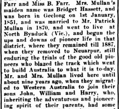 Obituary. (1919, September 9). The Horsham Times (Vic. : 1882 - 1954), p. 5. Retrieved August 28, 2013, from http://nla.gov.au/nla.news-article73052506