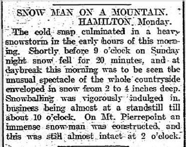 SNOW MAN ON A MOUNTAIN. (1910, October 11). The Border Morning Mail and Riverina Times (Albury, NSW : 1903 - 1920), p. 2. Retrieved August 20, 2013, from http://nla.gov.au/nla.news-article111390335