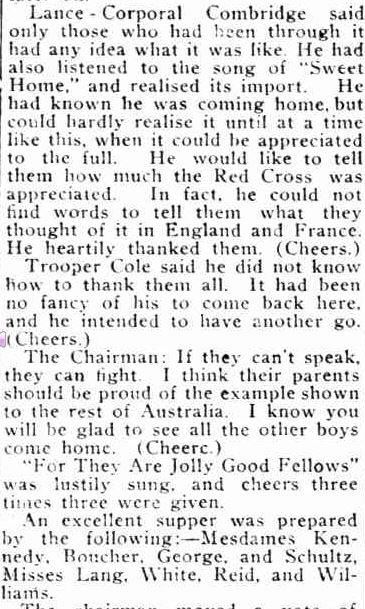 GRANTVILLE SOLDIERS' WELCOME HOME. (1918, June 21). Lang Lang Guardian (Vic. : 1914 - 1918), p. 3. Retrieved August 6, 2013, from http://nla.gov.au/nla.news-article119515605