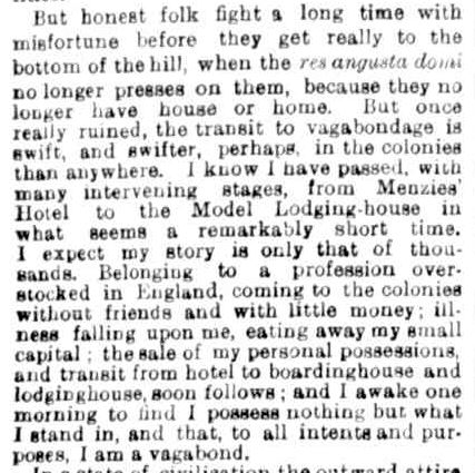A NIGHT IN THE MODEL LODGING-HOUSE. (1876, April 15). The Argus (Melbourne, Vic. : 1848 - 1957), p. 5. Retrieved August 7, 2013, from http://nla.gov.au/nla.news-article7436975