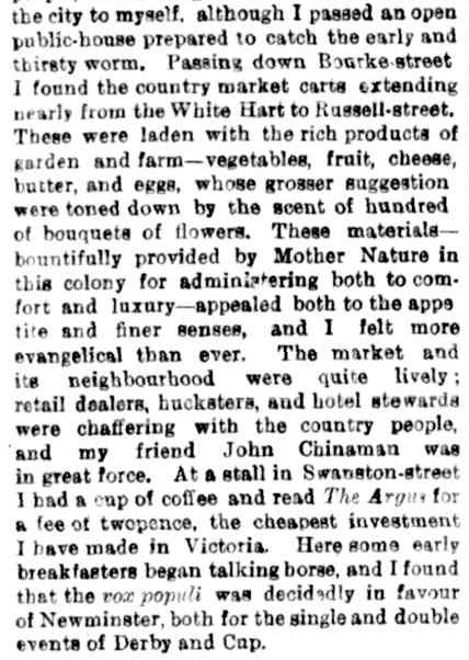 MORNING AT FLEMINGTON. (1876, October 30). The Argus (Melbourne, Vic. : 1848 - 1957), p. 6. Retrieved August 7, 2013, from http://nla.gov.au/nla.news-article5907653