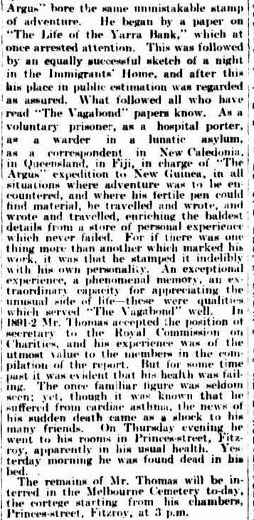 DEATH OF A WELL-KNOWN JOURNALIST. (1896, September 5). The Argus (Melbourne, Vic. : 1848 - 1957), p. 4. Retrieved August 9, 2013, from http://nla.gov.au/nla.news-article9183574
