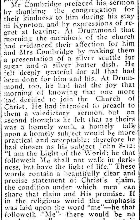 THE CHURCH OF CHRIST. (1914, June 30). Kyneton Guardian (Vic. : 1914 - 1918), p. 2. Retrieved November 21, 2013, from http://nla.gov.au/nla.news-article129618902