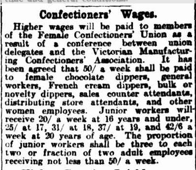 Confectioners' Wages. (1921, December 13). The Argus (Melbourne, Vic. : 1848 - 1957), p. 9. Retrieved October 3, 2013, from http://nla.gov.au/nla.news-article4613994