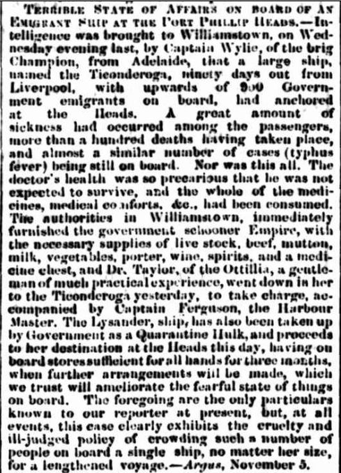 MELBOURNE SHIPPING. (1852, November 15). Empire (Sydney, NSW : 1850 - 1875), p. 2. Retrieved September 28, 2013, from http://nla.gov.au/nla.news-article60132168