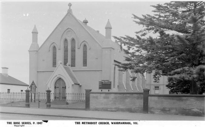 WARRNAMBOOL METHODIST CHURCH. Image courtesy of the State Library of Victoria. Image No. H32492/2746 http://handle.slv.vic.gov.au/10381/63534