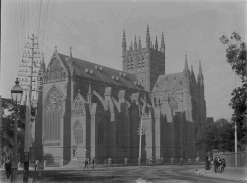 ST MARY'S CATHEDRAL, SYDNEY.  Image Courtesy of the State Library of Victoria.  Image no.  H92.200/429  http://handle.slv.vic.gov.au/10381/22531