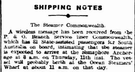 SHIPPING NOTES. (1913, September 10). Daily Herald (Adelaide, SA : 1910 - 1924), p. 6. Retrieved September 14, 2013, from http://nla.gov.au/nla.news-article105592344