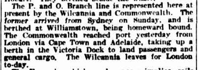 SHIPPING INTELLIGENCE. (1913, September 16). The Argus (Melbourne, Vic. : 1848 - 1957), p. 14. Retrieved September 14, 2013, from http://nla.gov.au/nla.news-article7233086