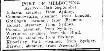 SHIPPING INTELLIGENCE. (1913, September 16). Bendigo Advertiser (Vic. : 1855 - 1918), p. 6. Retrieved September 14, 2013, from http://nla.gov.au/nla.news-article91019708