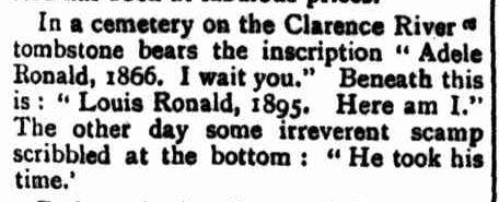 SCISSORS and PASTE. (1899, February 4). Windsor and Richmond Gazette (NSW : 1888 - 1954), p. 13. Retrieved September 2, 2013, from http://nla.gov.au/nla.news-article66440144