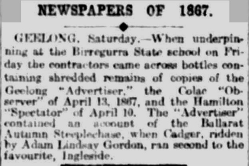 NEWSPAPERS OF 1887. (1911, April 10). The Argus (Melbourne, Vic. : 1848 - 1957), p. 9. Retrieved September 16, 2013, from http://nla.gov.au/nla.news-article10893529