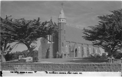 ST. PATRICKS CATHOLIC CHURCH, PORT FAIRY.  Image courtesy of the State Library of Victoria,  Image no H32492/7521 http://handle.slv.vic.gov.au/10381/61612