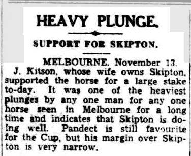 HEAVY PLUNGE. (1942, November 14). Cairns Post (Qld. : 1909 - 1954), p. 6. Retrieved November 3, 2013, from http://nla.gov.au/nla.news-article42367898