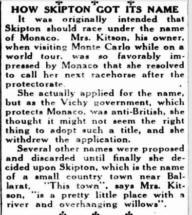 HOW SKIPTON GOT ITS NAME. (1941, November 12). The Cumberland Argus and Fruitgrowers Advocate (Parramatta, NSW : 1888 - 1950), p. 7. Retrieved November 3, 2013, from http://nla.gov.au/nla.news-article107293645
