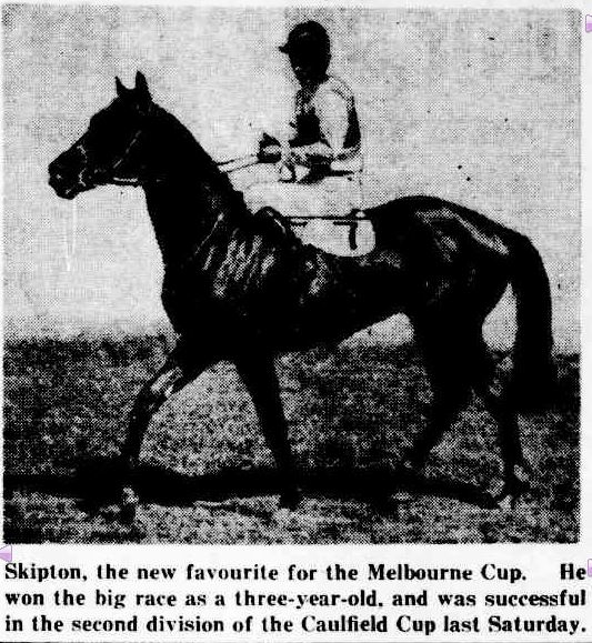 MELBOURNE CUP FAVOURITE. (1943, October 27). The Mercury (Hobart, Tas. : 1860 - 1954), p. 15. Retrieved November 3, 2013, from http://nla.gov.au/nla.news-article25984915