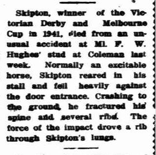 Melbourne Cup winner dead. (1948, December 23). News (Adelaide, SA : 1923 - 1954), p. 16. Retrieved November 3, 2013, from http://nla.gov.au/nla.news-article12988791
