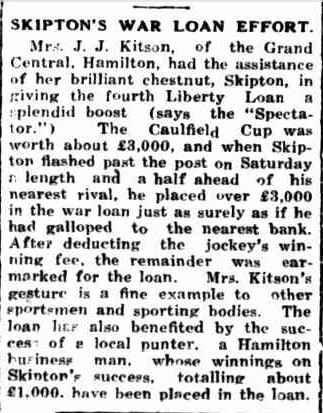 SKIPTON'S WAR LOAN EFFORT. (1943, November 1). Portland Guardian (Vic. : 1876 - 1953), p. 2 Edition: EVENING. Retrieved November 4, 2013, from http://nla.gov.au/nla.news-article64387175