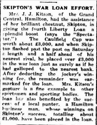 SKIPTON'S WAR LOAN EFFORT. (1943, November 1). Portland Guardian (Vic. : 1876 - 1953), p. 2 Edition: EVENING. Retrieved November 4, 2013, from http://nla.gov.au/nla.news-article64387175