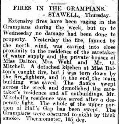 FIRES IN THE GRAMPIANS. (1914, February 21). Leader (Melbourne, Vic. : 1914 - 1918), p. 26. Retrieved December 28, 2013, from http://nla.gov.au/nla.news-article89311608