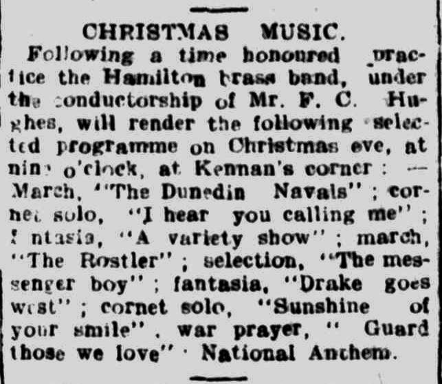 CHRISTMAS MUSIC. (1917, December 22). Hamilton Spectator (Vic. : 1914 - 1918), p. 4. Retrieved December 9, 2013, from http://nla.gov.au/nla.news-article119860771