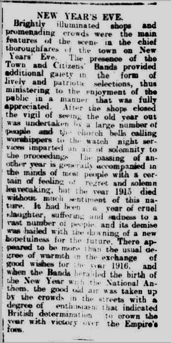 NEW YEAR'S EVE. (1916, January 3). Warrnambool Standard (Vic. : 1914 - 1918), p. 2 Edition: DAILY.. Retrieved December 30, 2013, from http://nla.gov.au/nla.news-article73865946