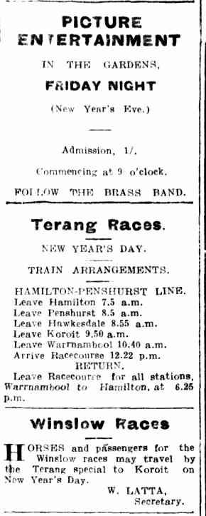 Advertising. (1915, December 30). Hamilton Spectator (Vic. : 1914 - 1918), p. 5. Retrieved December 30, 2013, from http://nla.gov.au/nla.news-article120408582