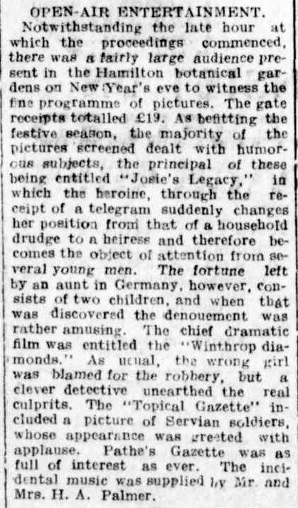 OPEN-AIR ENTERTAINMENT. (1916, January 3). Hamilton Spectator (Vic. : 1914 - 1918), p. 4. Retrieved December 30, 2013, from http://nla.gov.au/nla.news-article120408747