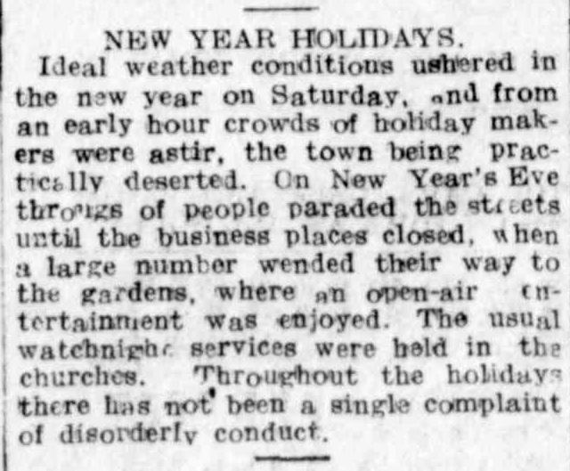 NEW YEAR HOLIDAYS. (1916, January 3). Hamilton Spectator (Vic. : 1914 - 1918), p. 4. Retrieved December 30, 2013, from http://nla.gov.au/nla.news-article120408772