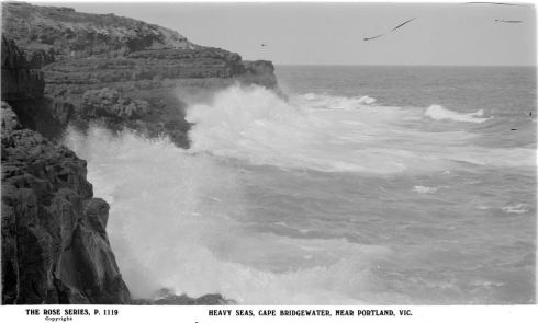 CAPE BRIDGEWATER.  Image Courtesy of the State Library of Victoria.  Image no. H32492/1662 http://handle.slv.vic.gov.au/10381/64872