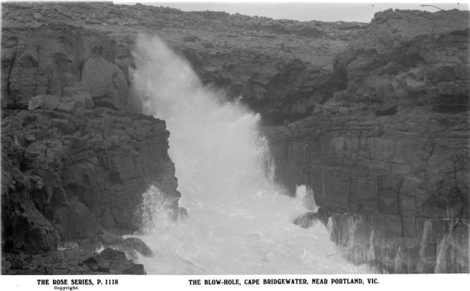 BLOWHOLE, CAPE BRIDGEWATER. Image courtesy of the State Library of Victoria. Image no, H32492/1661 http://handle.slv.vic.gov.au/10381/65004