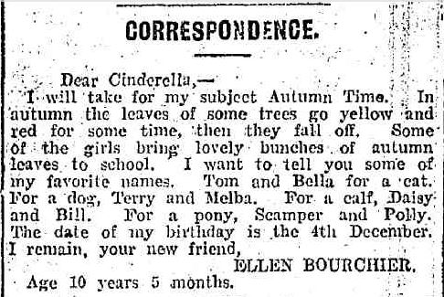 CORRESPONDENCE. (1915, June 19). Leader (Melbourne, Vic. : 1914 - 1918), p. 55 Edition: WEEKLY. Retrieved January 27, 2014, from http://nla.gov.au/nla.news-article91366815